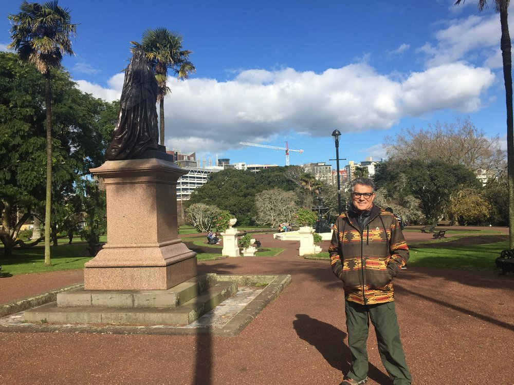 Frank at Price Albert park, Queen Victoria's statue in the background