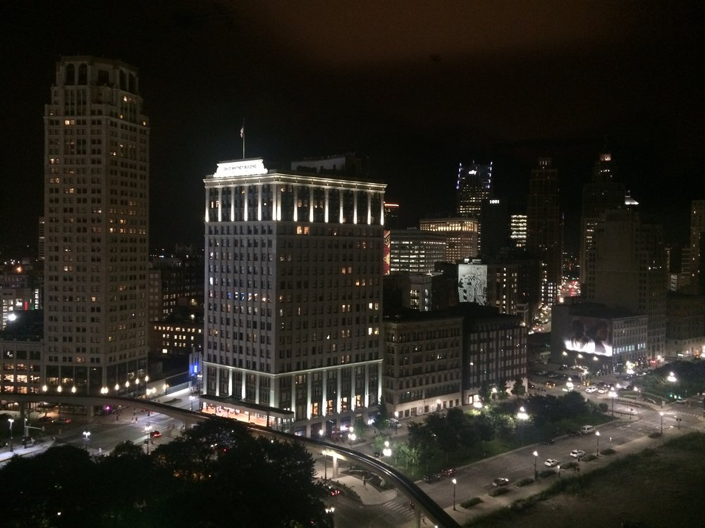 Night view from our new apartment in Detroit