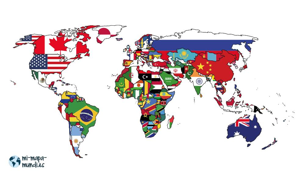 mapa mundi banderas