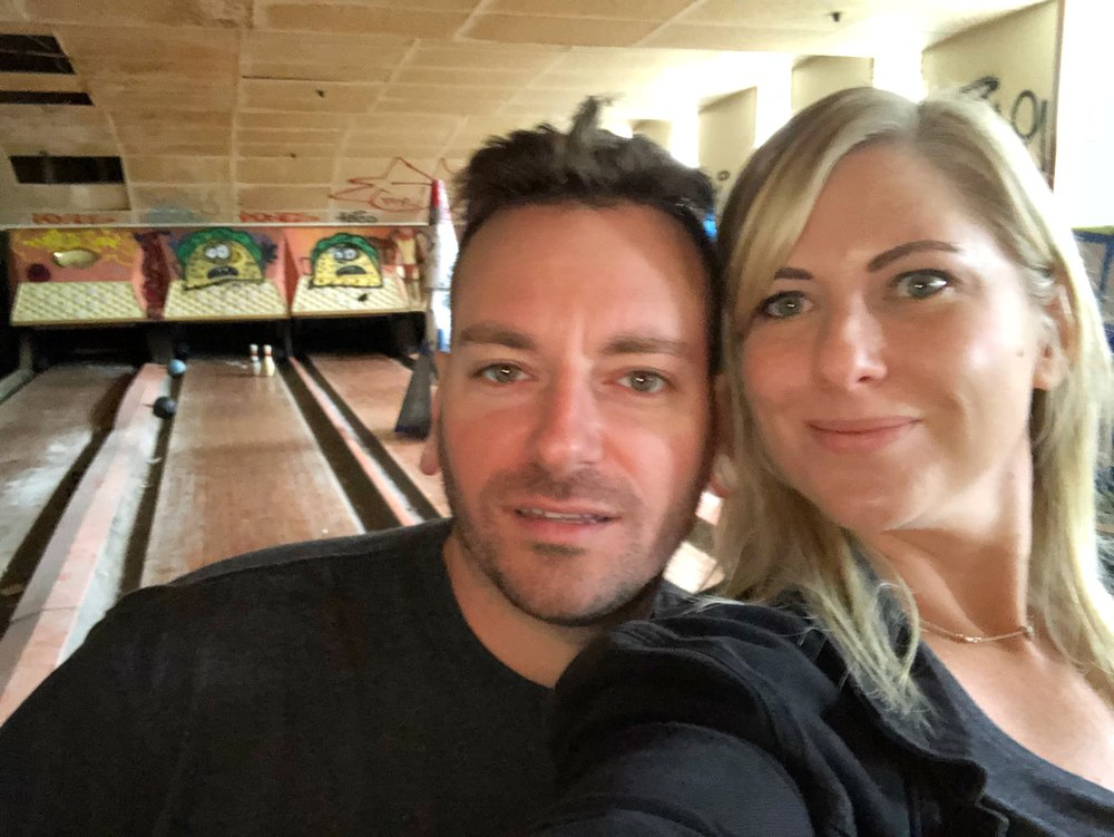 Otto and me in the Homowack bowling alley.