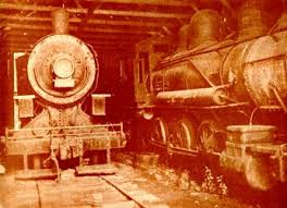 Trains in a shed prior to the fire.