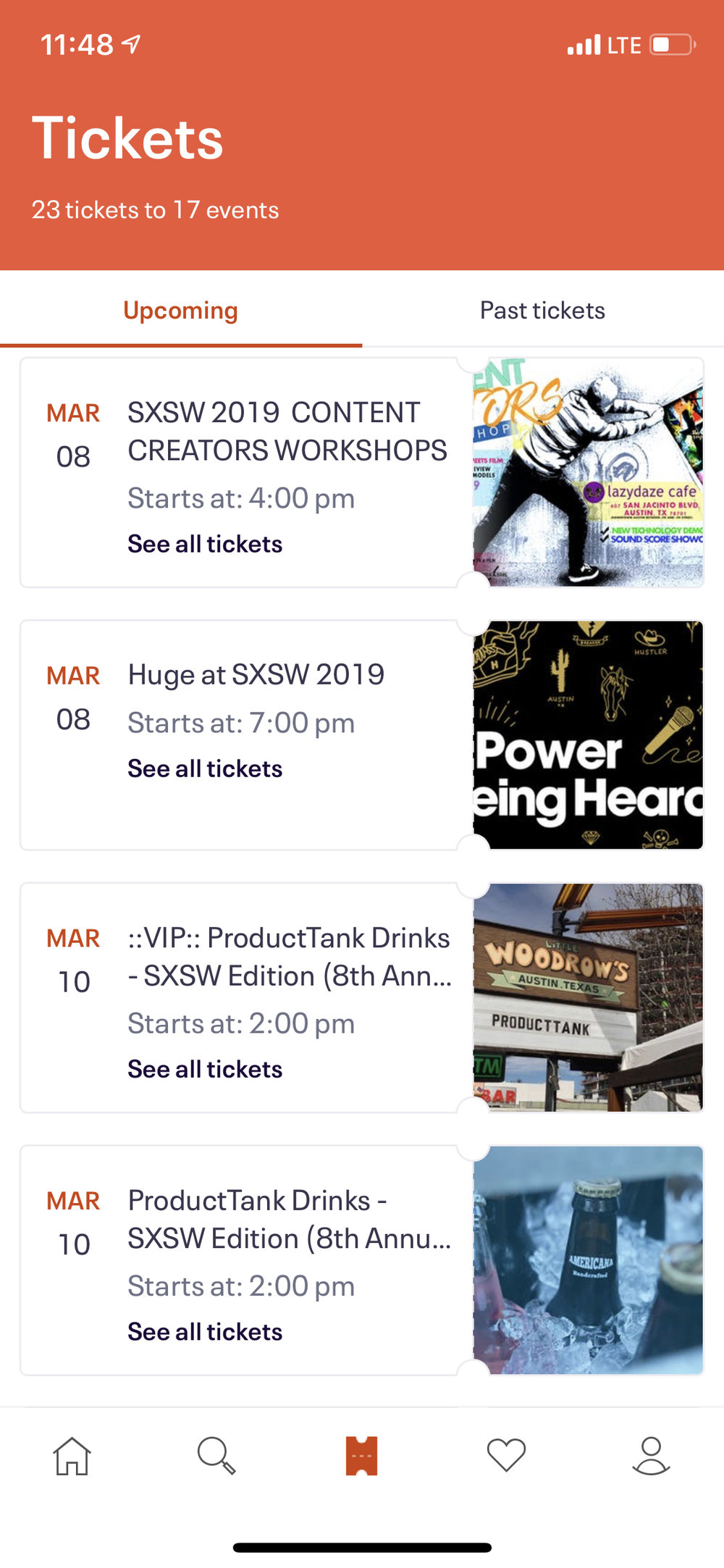 Eventbrite screenshot of events I attended