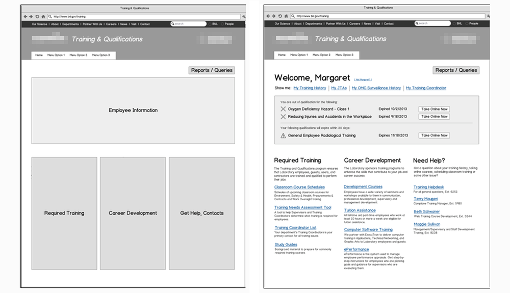 Simple wireframe (left) showing content regions and a refined wireframe (right) showing region details