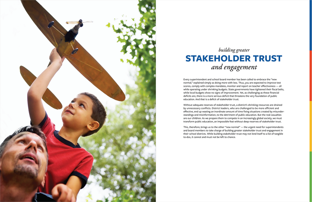 "A spread from ""The Other New Normal"", an 8-page booklet about K12 Insight's services"