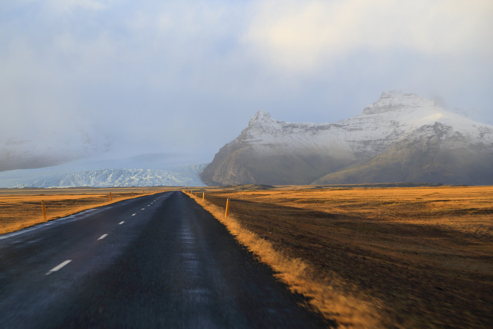 On the Ring Road in Southern Iceland, heading towards one tongue of Vatnajökull Glacier