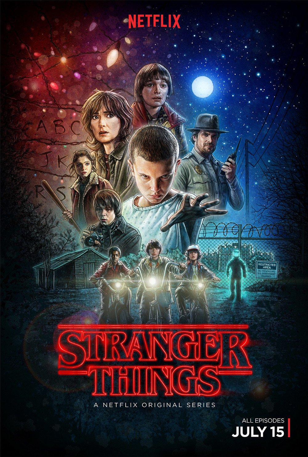 The official Stranger Things poster by Kyle Lambert