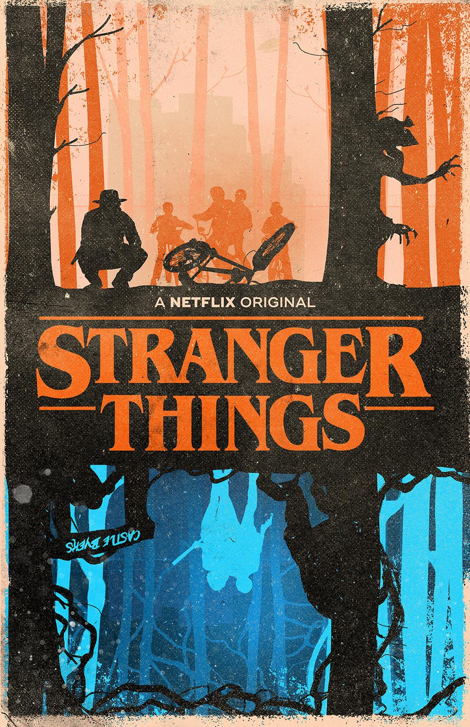 J Caleb uses bright colours and a limited palette to emphasise the difference between Stranger Things' two worlds.