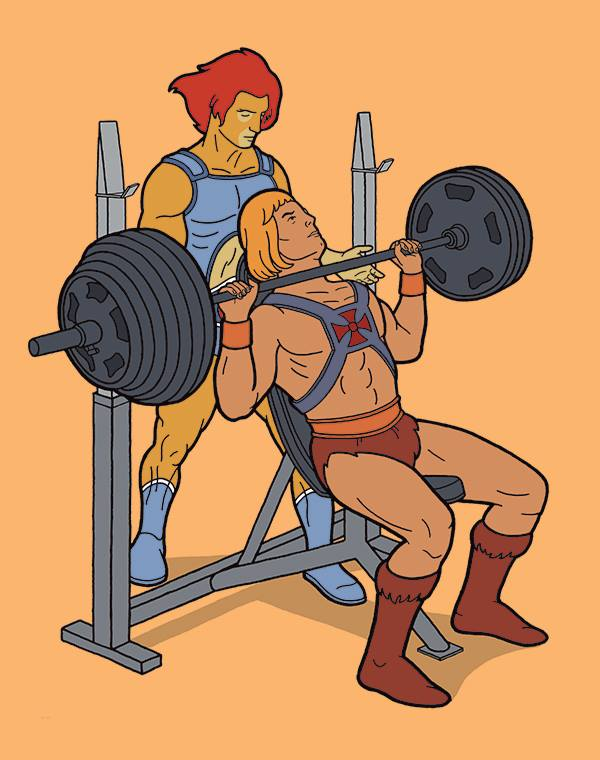 He-Man feeling the burn while Lion-O spots him