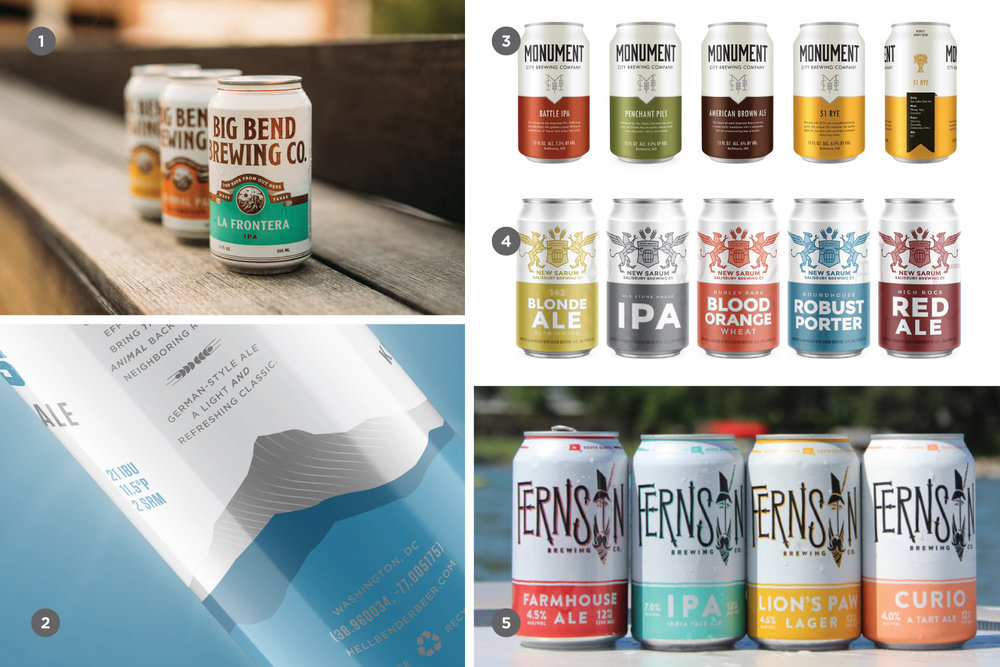 Some examples include 1. Big Bend Brewing, 2. Hellbender Brewing, 3. Monument City Brewing, 4. New Sarum Brewing, 5. Fernson Brewing. Source:  CODO Design