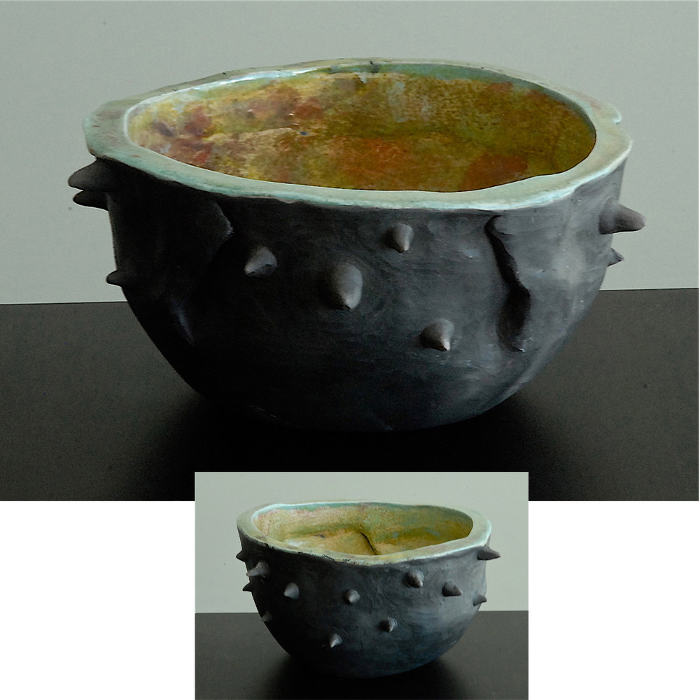 BLACK THORNED RAKU BOWL