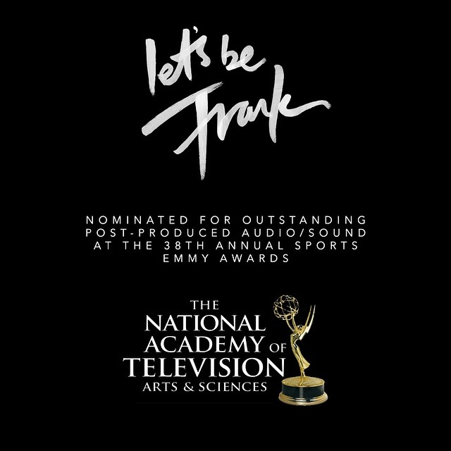 So proud to announce that Let's Be Frank has been nominated for an Emmy award for outstanding post-produced audio/sound. This is thanks to the great team @redbulltv #redbullmediahouse whom without none of this would be possible! @hamblinimagery @franksolomon @claphamrdstudio @hej_mmmkay