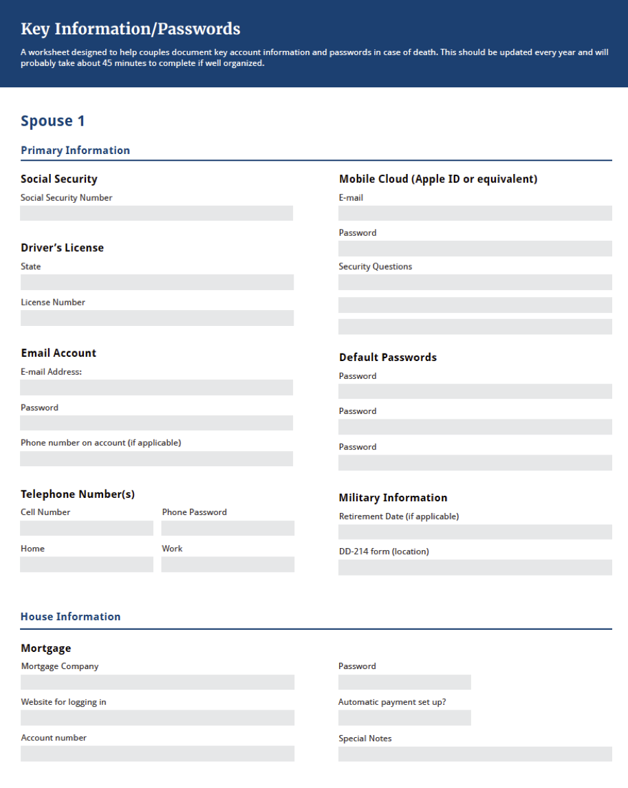 Sneak preview: page 1 of  Important Accounts and Passwords Cheat Sheet