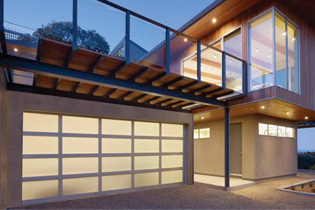 Modern Aluminum Sleek, sophisticated garage doors. Crisp lines and sleek design formed from durable corrosion-resistant aluminum and light-filtering glass.