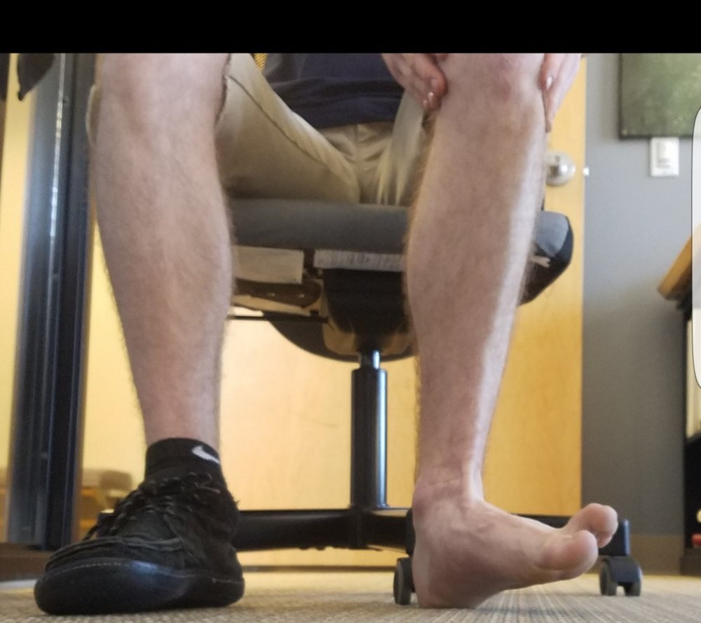 Peroneal Push - Starting with foot flat, contract muscles on the outside of lower leg to pull the outside of your foot up and away from other foot. When foot is flat, small toes are slightly below big toe. Now big toe should be even with or slightly below little toes.