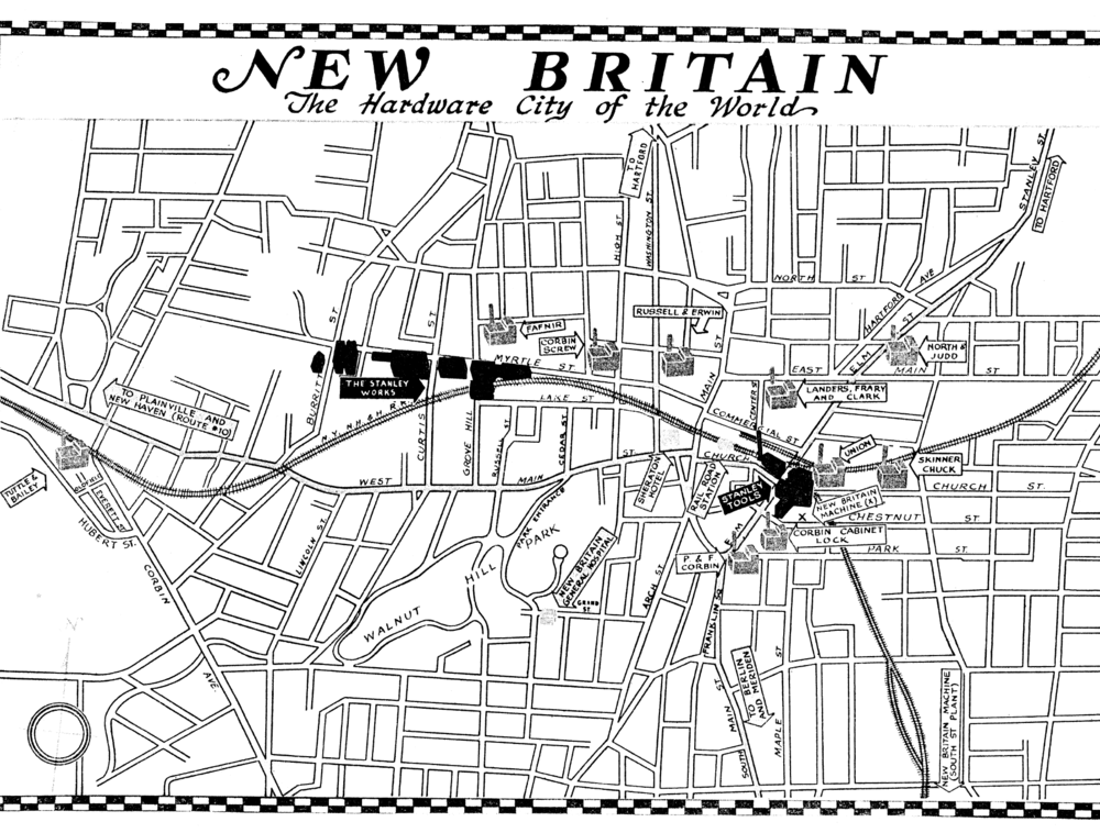 Promotional map of New Britain -- the setting of this project -- from the 1940s.