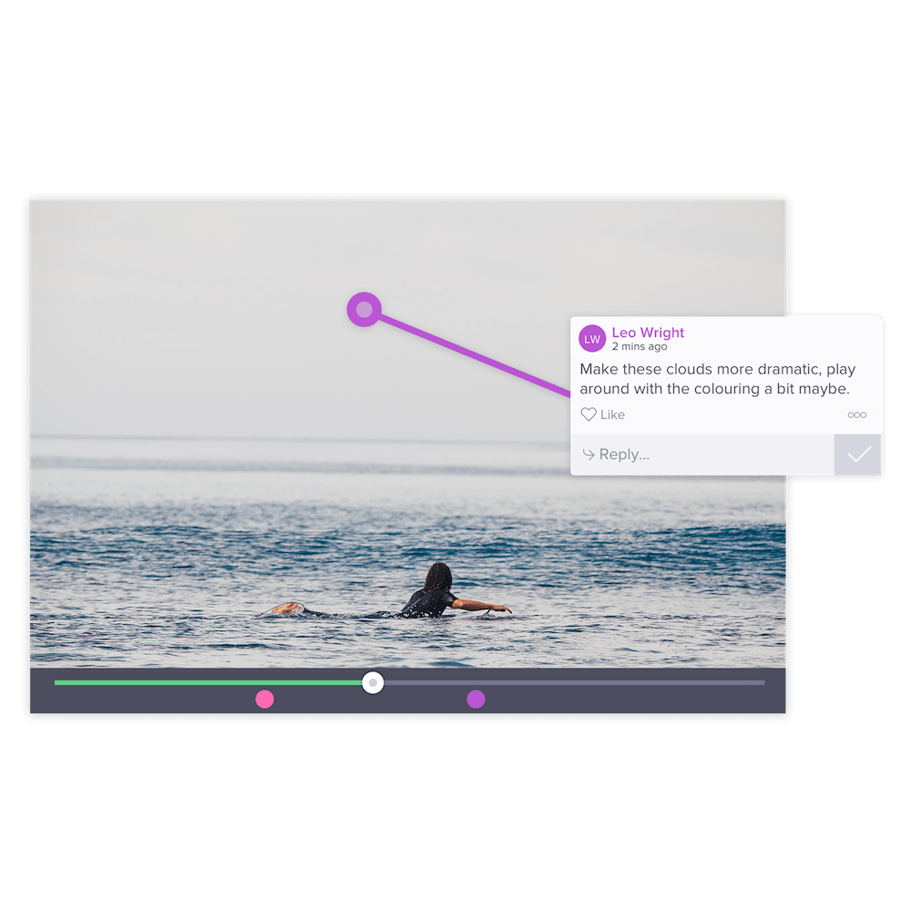 Intuitive Review and Workflow - Video review doesn't have to be that dreaded task. Reviewers simply comment directly on the frame so you get clear, engaged feedback that becomes actionable to-dos.