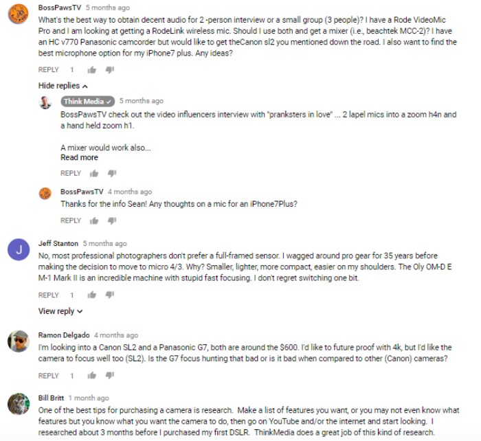 ThimkMedia YouTube Comments