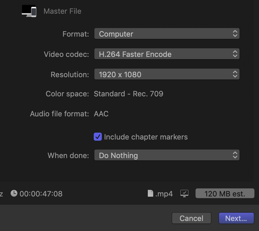 Can you figure out the bit rate FCPX is using for the H.264 file from the information in the image above?