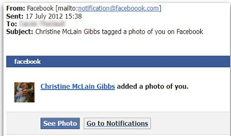 facebook photo tag email
