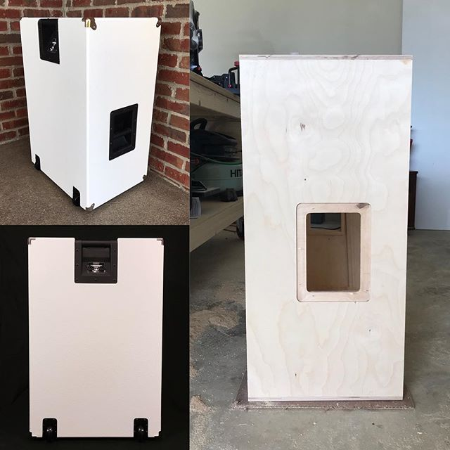 NEED YOUR HELP! Would you guys be interested in having tilt back casters on the side of a 4x12 guitar cabinet? This would allow it to be rolled anywhere, even through doorways! The 2 photos on the left show an example of tilt back casters and handle on our vertical 2x12 guitar cab, but they'd be on the side of the 4x12 (as shown in the right photo). Thoughts? Questions? Concerns? #sirensound #guitar #guitarcab #4x12 #design