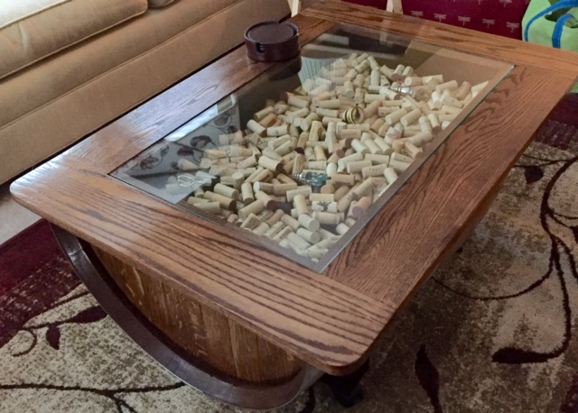 HALF BARREL COFFEE TABLE, Glass Top Over Shadow Box