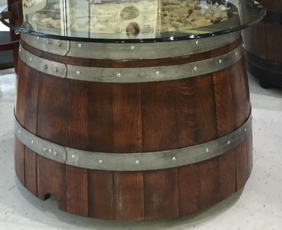 ROUND HALF BARREL END TABLE, Glass Top