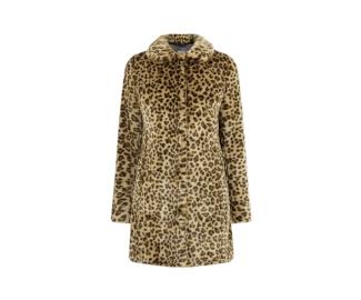 Oasis Leopard Print Faux Fur Coat