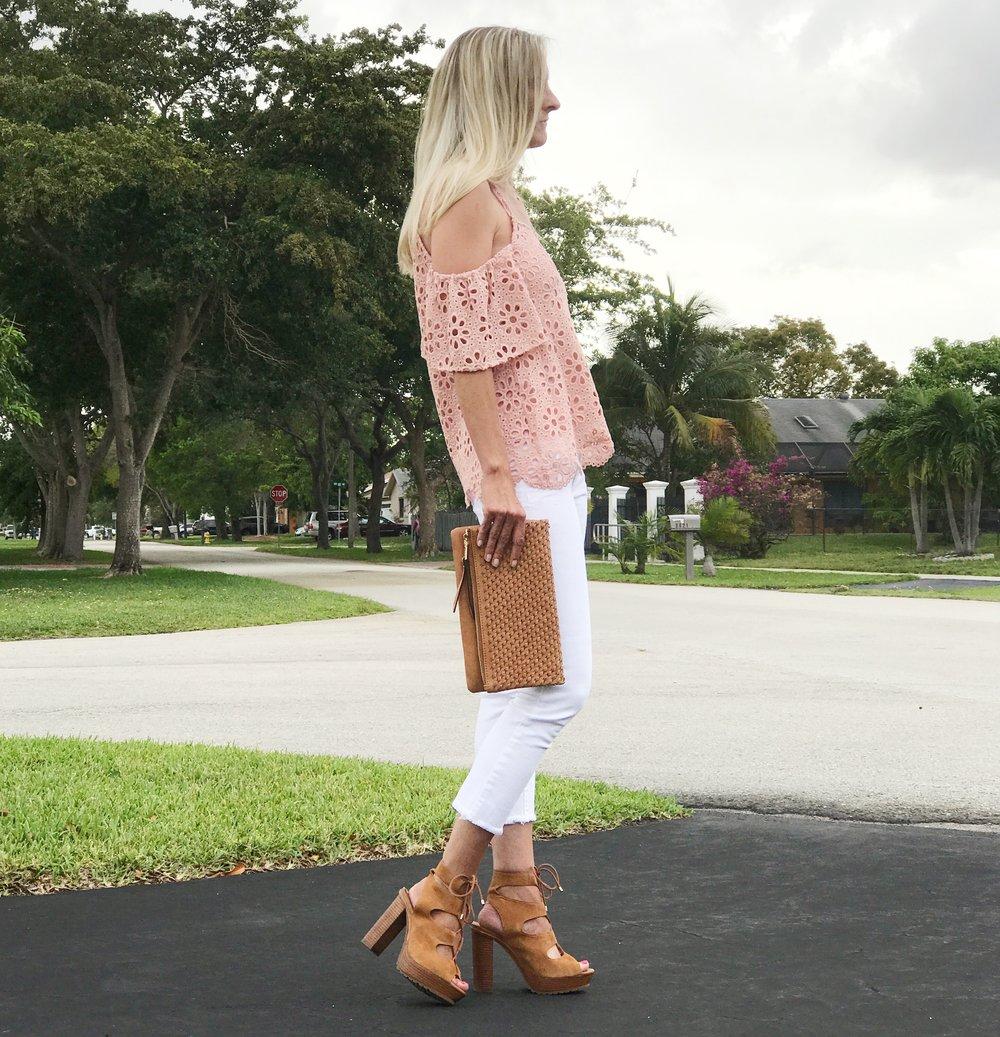 Top   //   Jeans   (similar) //   Sandals   //   Clutch   (similar)