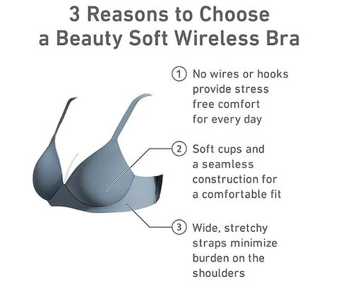 9370aa0018 The Beauty Soft Wireless Bras for smaller-busted women have wider straps  and no hooks