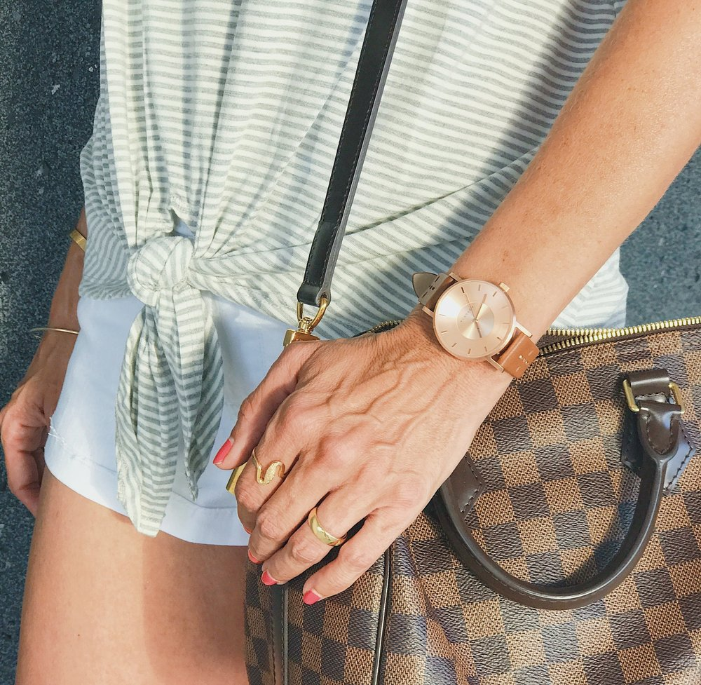 Watch     //     Striped Front Knot Tee   //   Louis Vuitton Bag   //   White Denim Shorts   //     Gold Band   //     Wave Ring