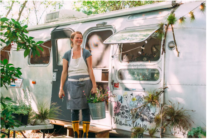 Annie Schiller and her Airstream office. Image Credit: Sarasota Magazine by Thristan Wheelock