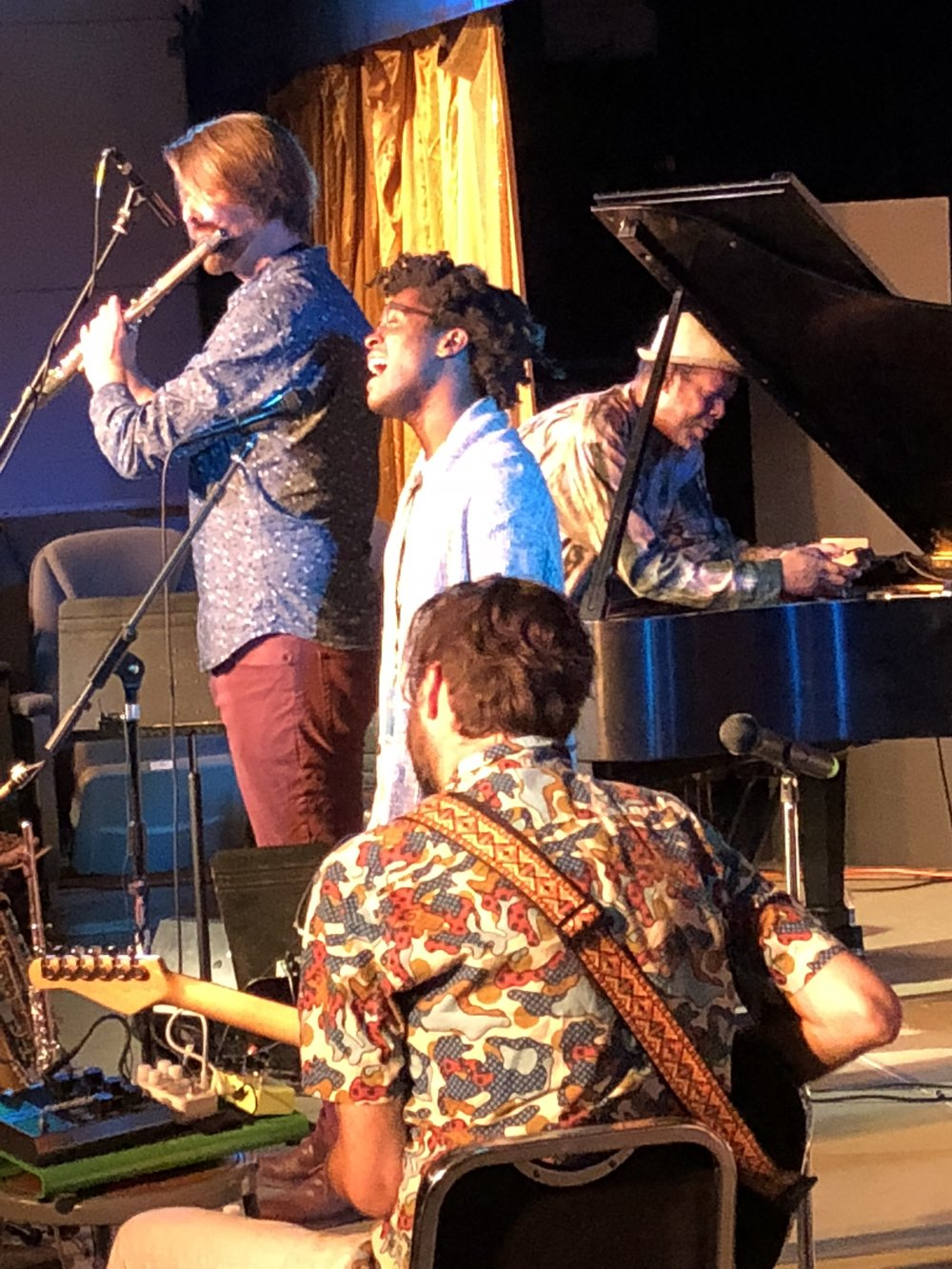 John C. Savage-flute, David Ornette Cherry-piano, Jimmie Herrod-vocals, and Mike Gamble-guitar (Andrew Jones-bass and Chris Johnedis-drums not pictured) at the Montavilla Jazz Fesitval, Portland, OR