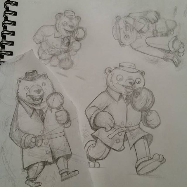 Detective Berry, a super sleuth hot on the trail of the local meth lab.  #drawing #art #illustration #mascot #comicart #comics #bear