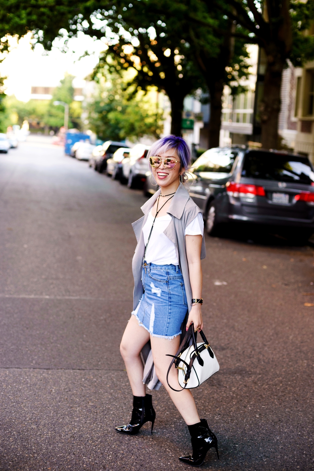 Dezzal Grey Trench Coat_TOPSHOP White T-shirt_She Inside Highwaisted Denim Mini Skit_ALDO Patent Boots_ZARA Mini Bag_Suede Choker_Daniel Wellington Watch_Aikas Love Cloeset_Seattle Fashion Blogger from Japan_Lavender Hair_Messy low bun Hair 3