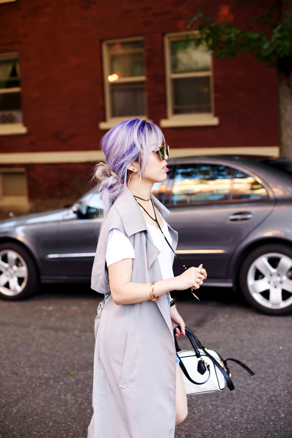 Dezzal Grey Trench Coat_TOPSHOP White T-shirt_She Inside Highwaisted Denim Mini Skit_ALDO Patent Boots_ZARA Mini Bag_Suede Choker_Daniel Wellington Watch_Aikas Love Cloeset_Seattle Fashion Blogger from Japan_Lavender Hair_Messy low bun Hair 6