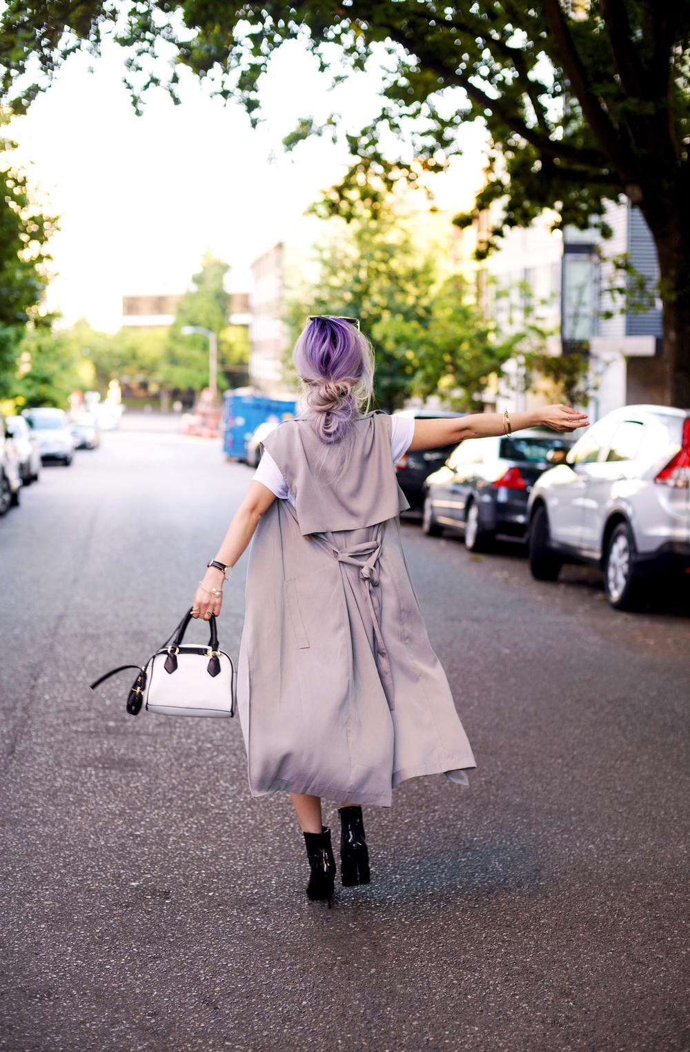 Dezzal Grey Trench Coat_TOPSHOP White T-shirt_She Inside Highwaisted Denim Mini Skit_ALDO Patent Boots_ZARA Mini Bag_Suede Choker_Daniel Wellington Watch_Aikas Love Cloeset_Seattle Fashion Blogger from Japan_Lavender Hair_Messy low bun Hair 12