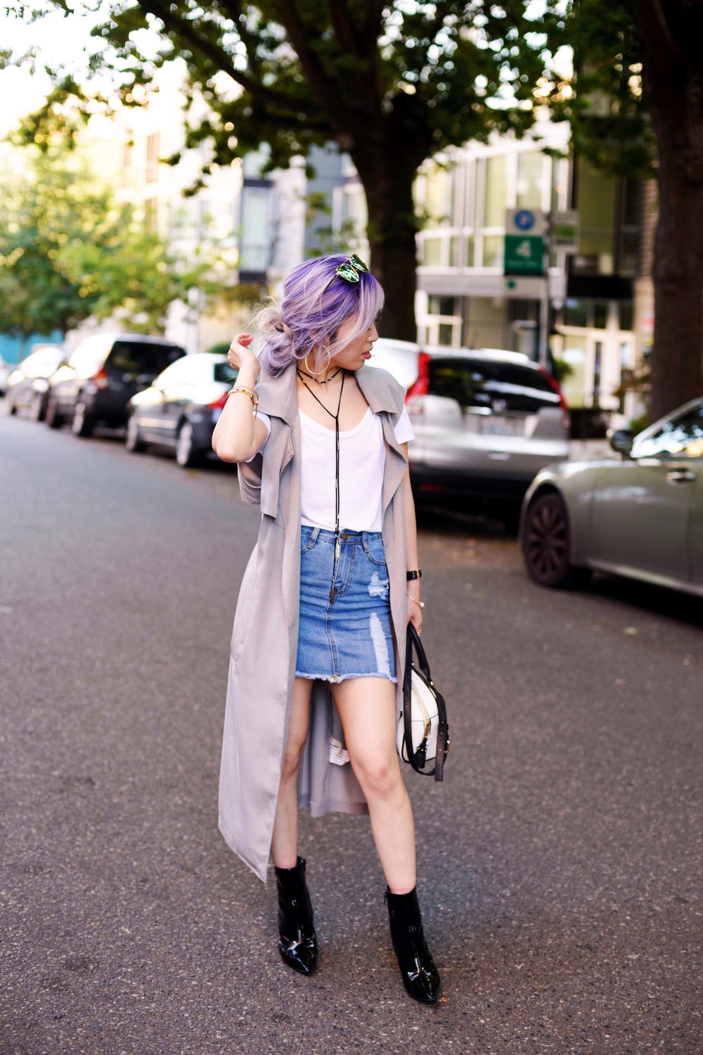 Dezzal Grey Trench Coat_TOPSHOP White T-shirt_She Inside Highwaisted Denim Mini Skit_ALDO Patent Boots_ZARA Mini Bag_Suede Choker_Daniel Wellington Watch_Aikas Love Cloeset_Seattle Fashion Blogger from Japan_Lavender Hair_Messy low bun Hair 16