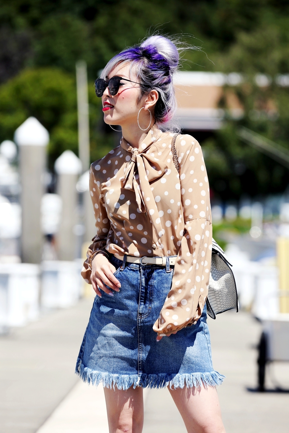 Yuna Yang Collection Polkadot Trench Coat & Blouse_ASOS Frayed Hem Denim Mini Skirt_Shoe Dazzle Gold Lace Up Wedge Sandals_Mellow World Bag_No Weekends Sunglasses_Lavender Hair_Messy Bun Hairstyle_Aikas Love Closet_Seattle Fashion Blogger from Japan