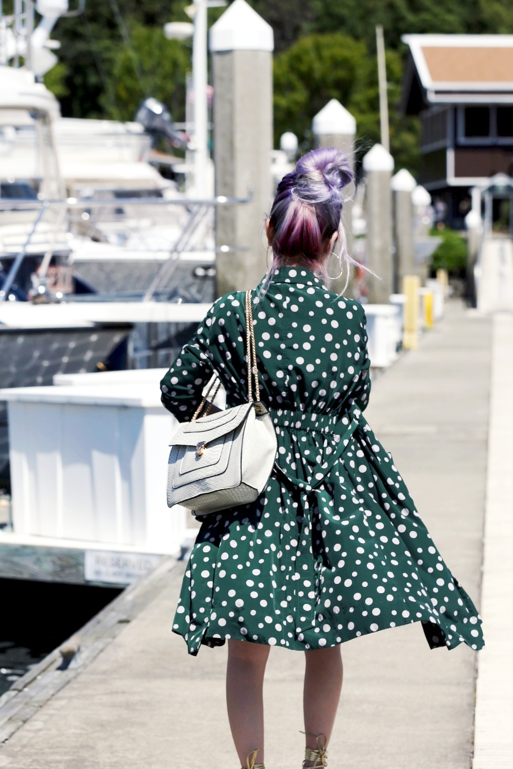 Yuna Yang Collection Polkadot Trench Coat & Blouse_ASOS Frayed Hem Denim Mini Skirt_Shoe Dazzle Gold Lace Up Wedge Sandals_Mellow World Bag_No Weekends Sunglasses_Daniel Wellington classic reading rose gold 458 watch_ Lavender Hair_Messy Bun Hairstyle_Aikas Love Closet_Seattle Fashion Blogger from Japan