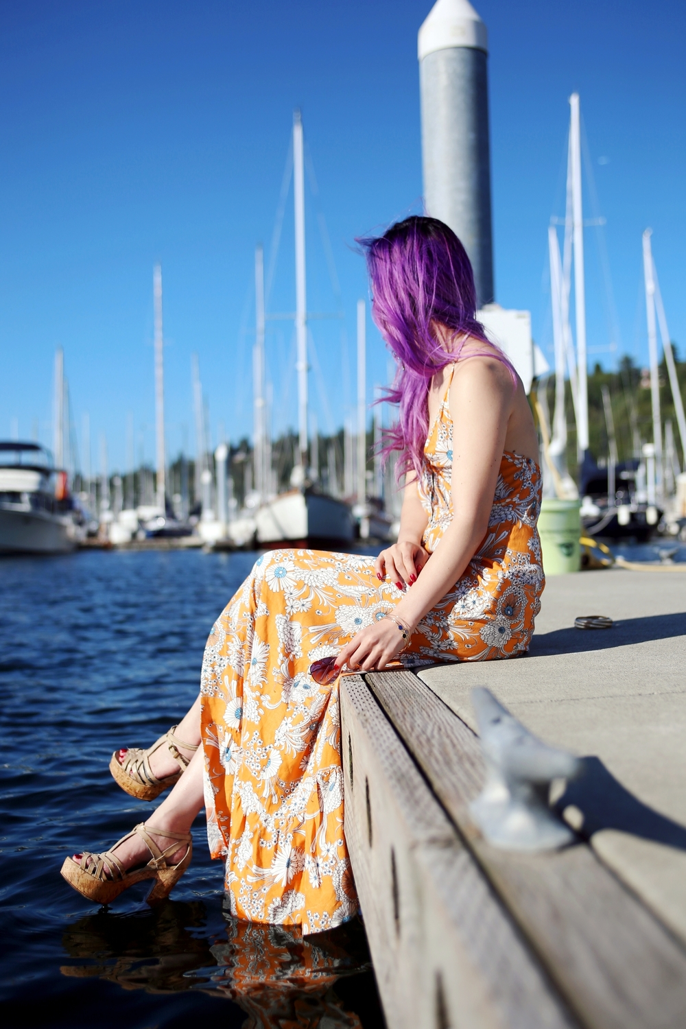 Target x Mady by MINKPINK Floral Halter Maxi Dress_H&M 4-pack bracelets_ALDO Platform Sandals_Ray Ban Blue Aviator Sunglasses_Aikas Love Closet_Seattle Fashion Blogger From Japan_Purple hair_Mermaid Hair