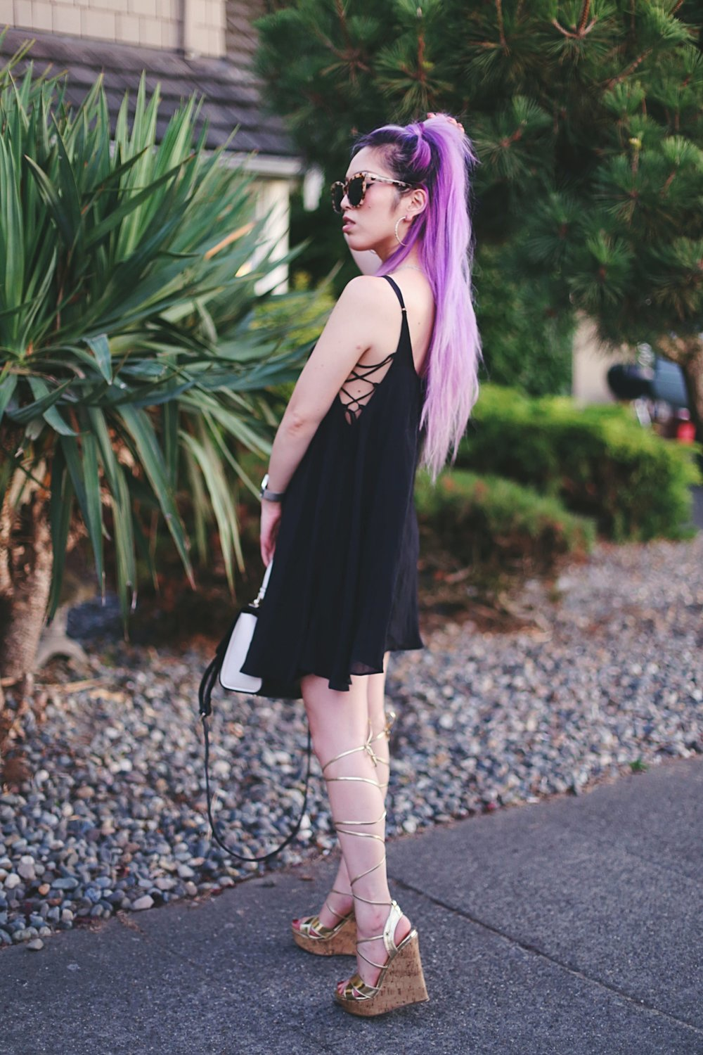 Urban Outfitters Kimchi Blue Lace-Up Side Mini Dress & Carmen Oversized Cat-Eye Sunglasses_ShoeDazzle Gold lace up wedge sandals_ZARA CONTRAST MINI CITY BAG_Christian Paul 43MM HAYMAN MARBLE MESH watch_Aikas Love Closet_Seattle Fashion Blogger from Japan_Lavender Hair_Purple hair