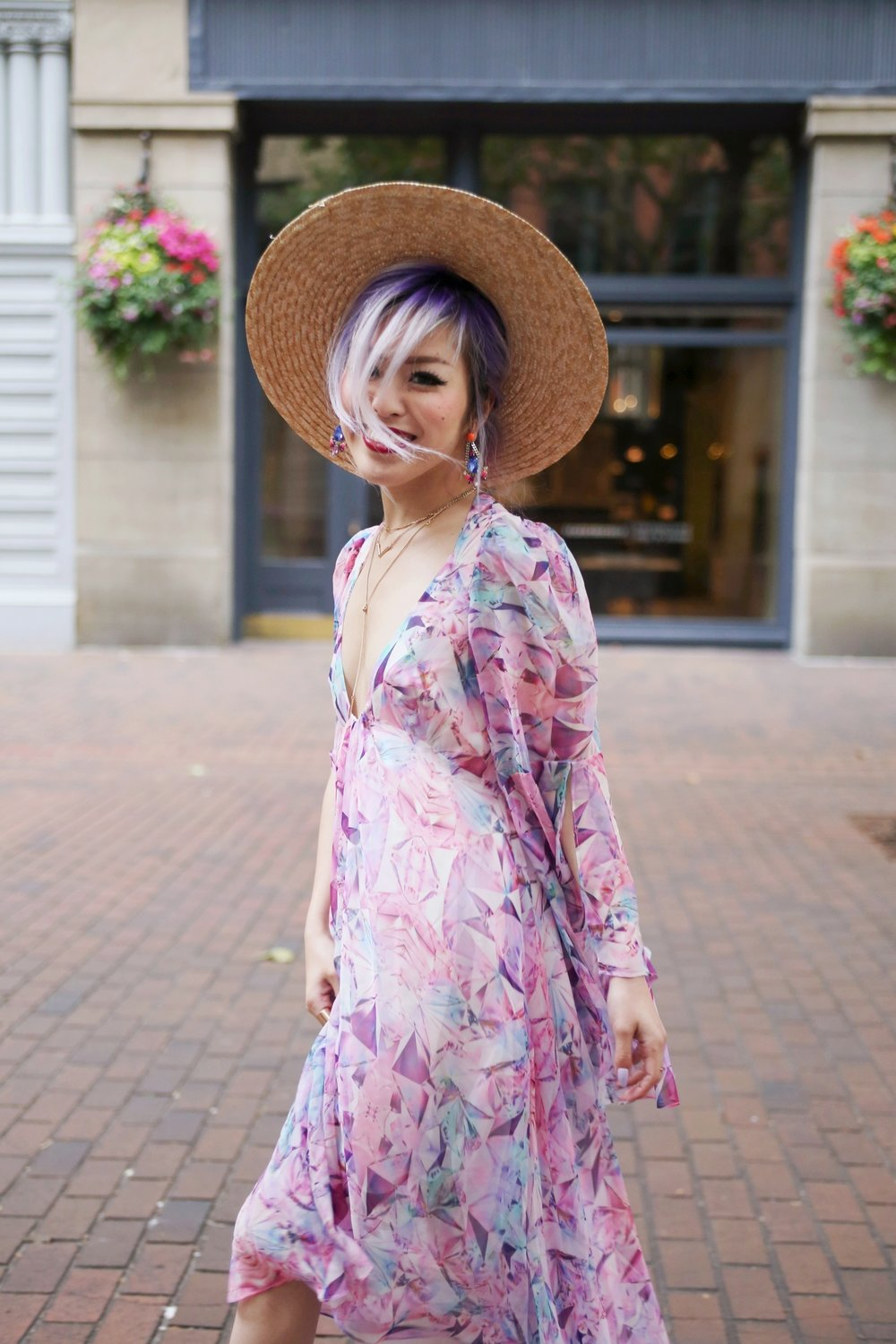 Yuna Yang Pink Dress_Statement Earrings_Lack Of Color The Spencer Wide Brimmed Boater_Charlotte Russe Nude Sandals_Aikas Love Closet_Seattle Fashion Blogger from Japan_Lavender Hair_Purple Hair