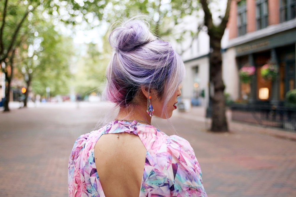 Yuna Yang Pink Dress_Statement Earrings_Lack Of Color The Spencer Wide Brimmed Boater_Charlotte Russe Nude Sandals_Aikas Love Closet_Seattle Fashion Blogger from Japan_Lavender Hair_Purple Hair_Messy Bun Hair_Topknot Hair