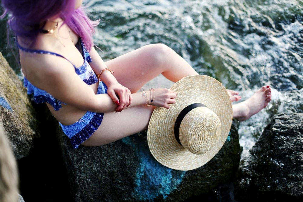 Patchwork Flounce Blue Bikini Target x Made by MINKPINK_Lack of Color The Spencer Boater Hat_ZARA Choker Necklace_Rayban Light Blue Gradient Aviator Sunglasses_Aikas Love Closet_Seattle Fashion Blogger from Seattle_Mermaid Hair_Lavender Hair