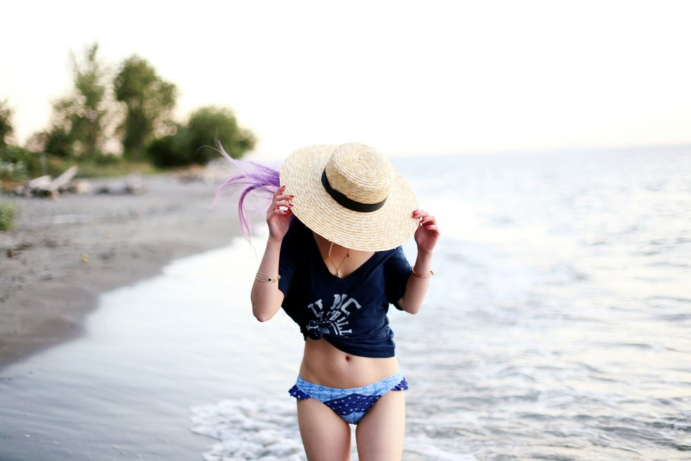 Patchwork Flounce Blue Bikini Target x Made by MINKPINK_Lack of Color The Spencer Boater Hat_ZARA Choker Necklace_Rayban Light Blue Gradient Aviator Sunglasses_Aikas Love Closet_Seattle Fashion Blogger from Seattle_Mermaid Hair_Lavender Hair_American Eagle Navy T-shirt