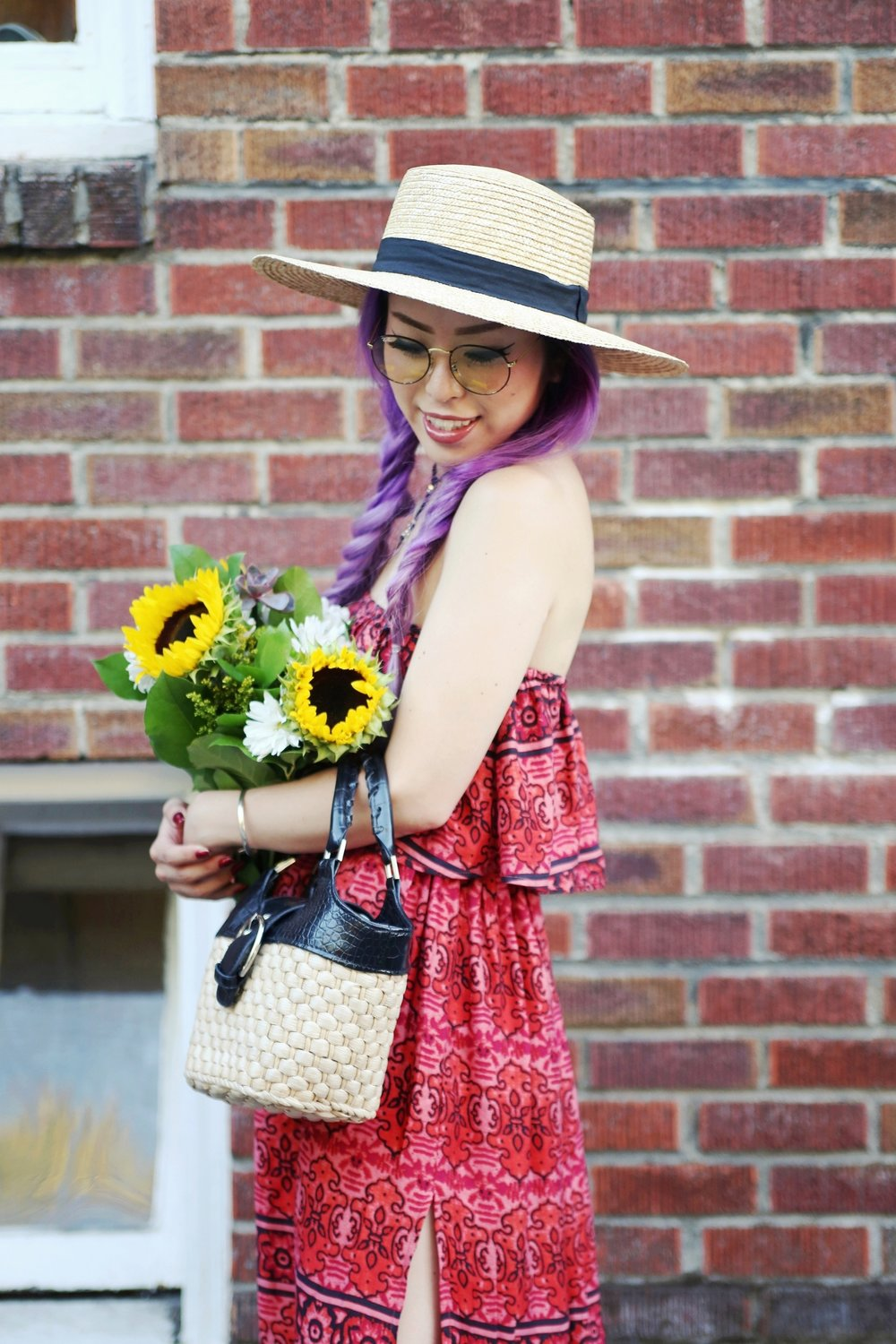 Target x Made by MINKPINK Women's Printed Off the Shoulder Ruffle Dress_American Eagle Straw Boater Hat_H&M Silver Pointed Toe Flats_Thrifted Straw Minibag_Choker_Rayban rounded retro sunglasses_Aikas Love Closet_Seattle fashion Blogger from Japan_Mermaid Hair_Lavender Hair_Braids Hairstyle_Sunflowers