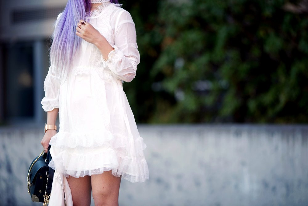 DEZZAL Letter Print White Biker Jacket & Lace Hem Layered Dress_Forever 21 Olive Bag_White Lace Choker_JustFab Lace Up Sandals_Pink Retro Sunglasses_Aikas Love Closet_Seattle Fashion Blogger from Japan_Mermaid Hair_Purple Hair