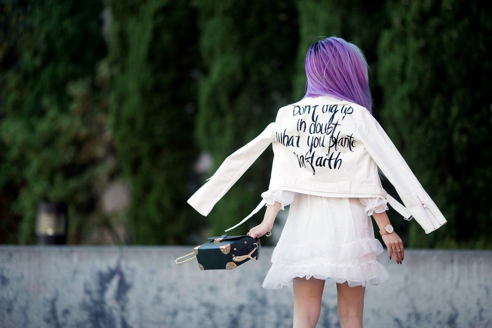 DEZZAL Letter Print White Biker Jacket & Lace Hem Layered Dress_Forever 21 Olive Bag_White Lace Choker_JustFab Lace Up Sandals_Pink Retro Sunglasses_Aikas Love Closet_Seattle Fashion Blogger from Japan_Mermaid Hair_Purple Hair_Don't dig up in doubt what you planted in faith