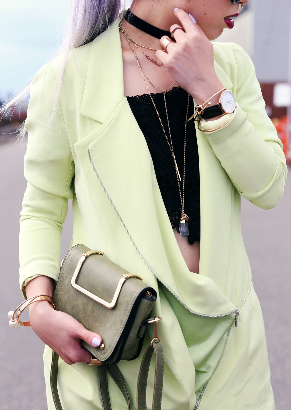 YunaYang Lime Green Jacket Dress_Charlotte Russe Off the shoulder Lace Cropped top_Nastygal Velvet Choker_Emmy Trinh Wish Necklace_Daniel Wellington Watch_Romwe Khaki Mini bag_Forever 21 Layered NecklaceLove Closet_Seattle Fashion Blogger_Japanese Fashion_Mermaid Hair_Lavender Hair