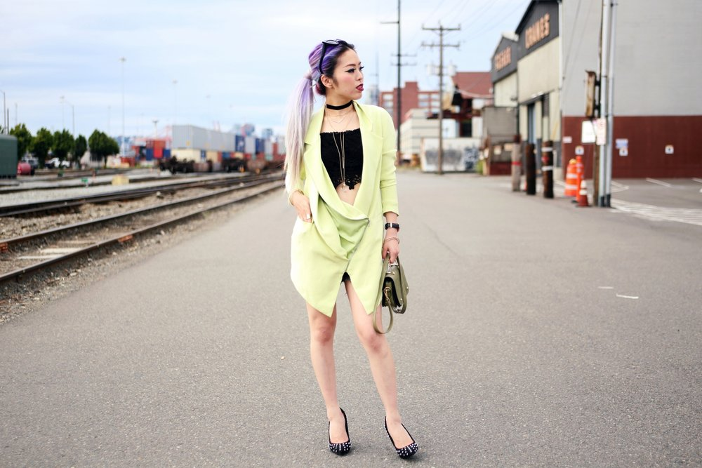 YunaYang Lime Green Jacket Dress_Charlotte Russe Off the shoulder Lace Cropped top_Nastygal Velvet Choker_Emmy Trinh Wish Necklace_Asos Cat Eye Sunglasses_Daniel Wellington Watch_Romwe Khaki Minibag_Aldo Studded Heels_Aikas Love Closet_Seattle Fashion Blogger_Japanese Fashion_Mermaid Hair_Lavender Hair